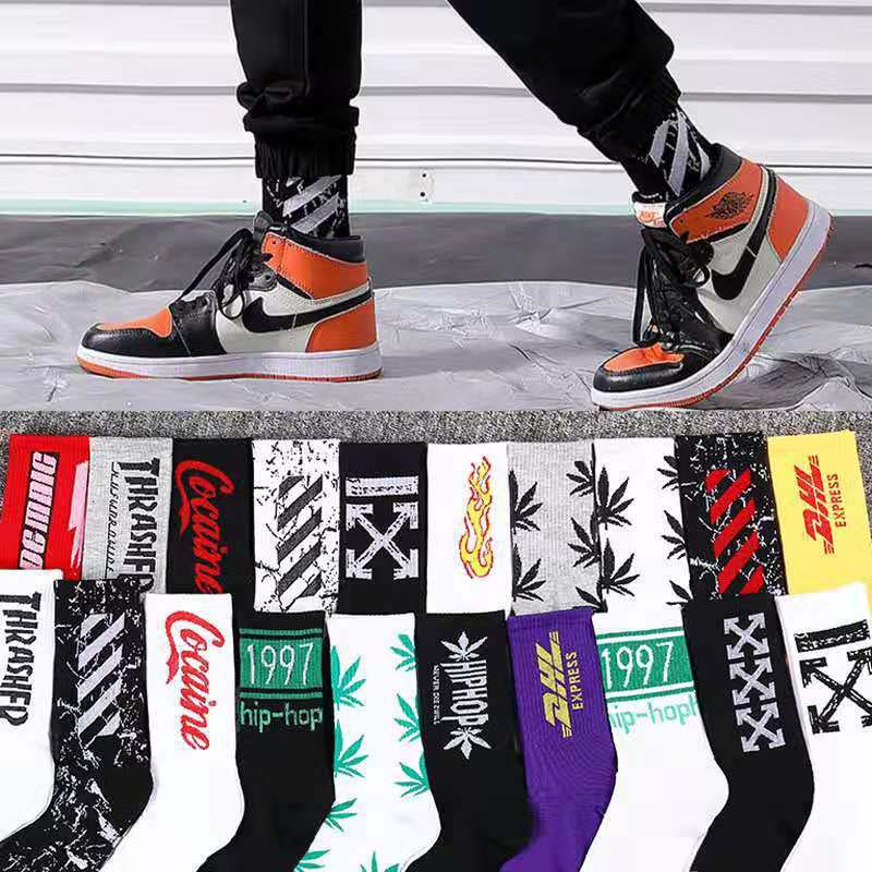 New Men Middle Tube Polyester Socks Man Women Hip Hop Style Sock Fashion Motion Breathable Hosiery Dropshipping