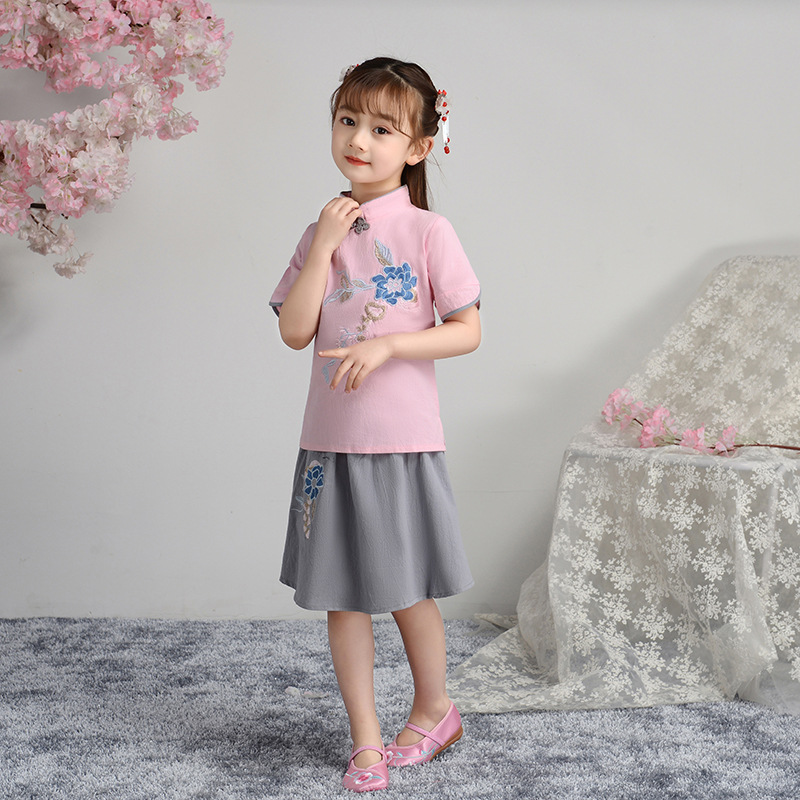 2019 Spring Douyin New Style Embroidered Yin Hua Kuan Mesh Dress GIRL'S Suit Ethnic-Style Cheongsam Retro A Version