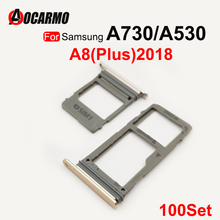 Aocarmo 100Pcs/Lot Dual SIM Card Tray For Samsung Galaxy A730 530 A8 Plus 2018 SIM Card Reader Sim Tray Holder
