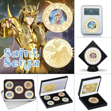 WR 5pcs Saint Seiya Gold Plated Coins Collectibles with Box Japanese Challenge Coin Original Anime Coins Gift Set Dropshipping