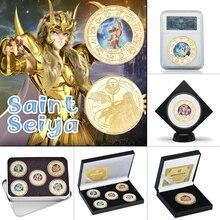 WR pièces en plaqué or Saint Seiya, 5 pièces de collection, avec boîte, ensemble cadeau, avec motif animé, défi japonais, livraison directe