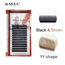 Y Shaped Eyelashes Clusters Beauty 0.07 YY Type Brown Lashes Extension Makeup Naturally Soft D Curl Mix Premade Volume Fan