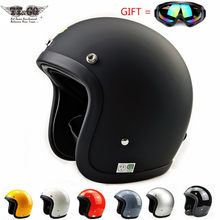 Estilo japonês geniune tt & co capacete da motocicleta retro do vintage cafe racer fibra de vidro pequeno escudo 3/4 rosto aberto 500tx ttco