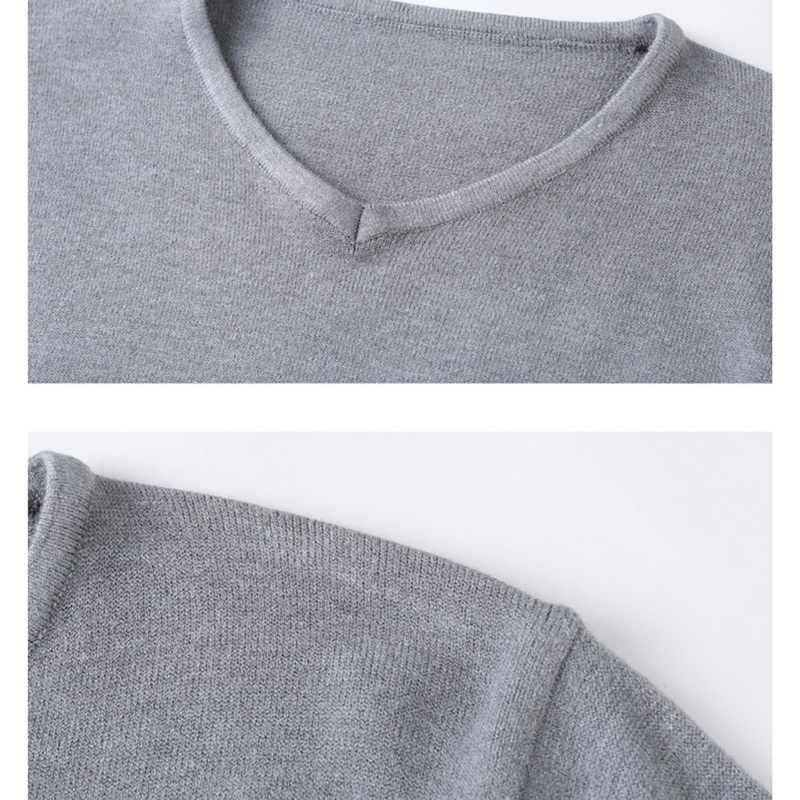 秋冬メンズセーター V ネックスリムフィットソリッド長袖セータープルオーバー男性ニットオムシャツやつ 2020 生き抜く