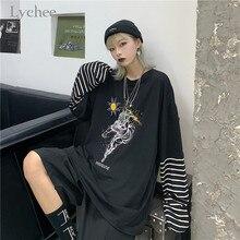 Lychee Harajuku Patchwork Women T-shirts Top Tees Sun Lightn