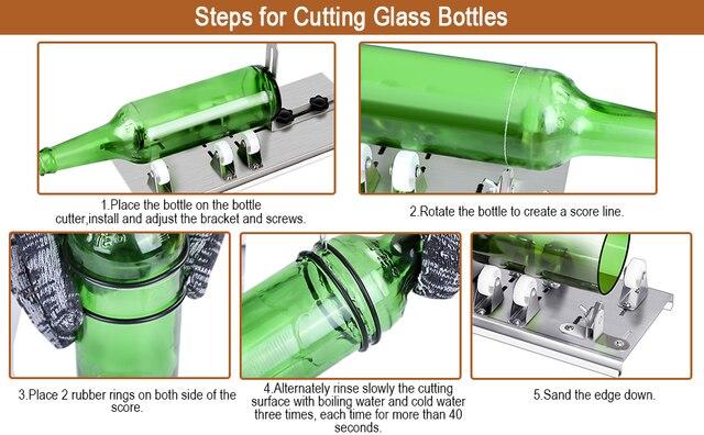 10pcs γυάλινο μπουκάλι κόφτης diy μηχανή κοπής μπύρα κρασί ουίσκι αλκοόλ σαμπάνια χειροποίητα γάντια γυαλιά αξεσουάρ εργαλειοθήκη