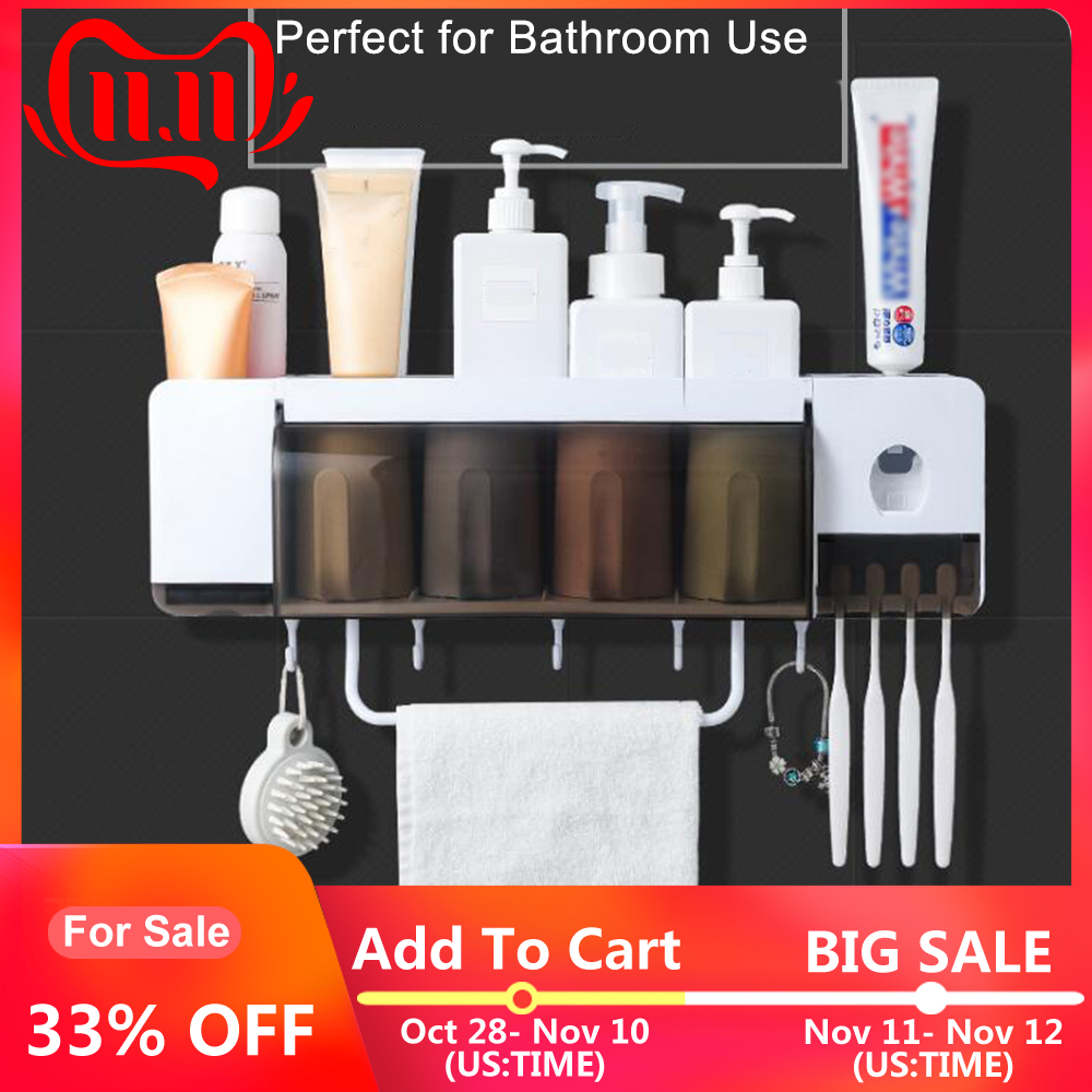 Automatic Toothpaste Dispenser Wall-mounted Toothbrush Holder Storage Rack Organizer Towel Holder With 2/3/4 Cups Bathroom