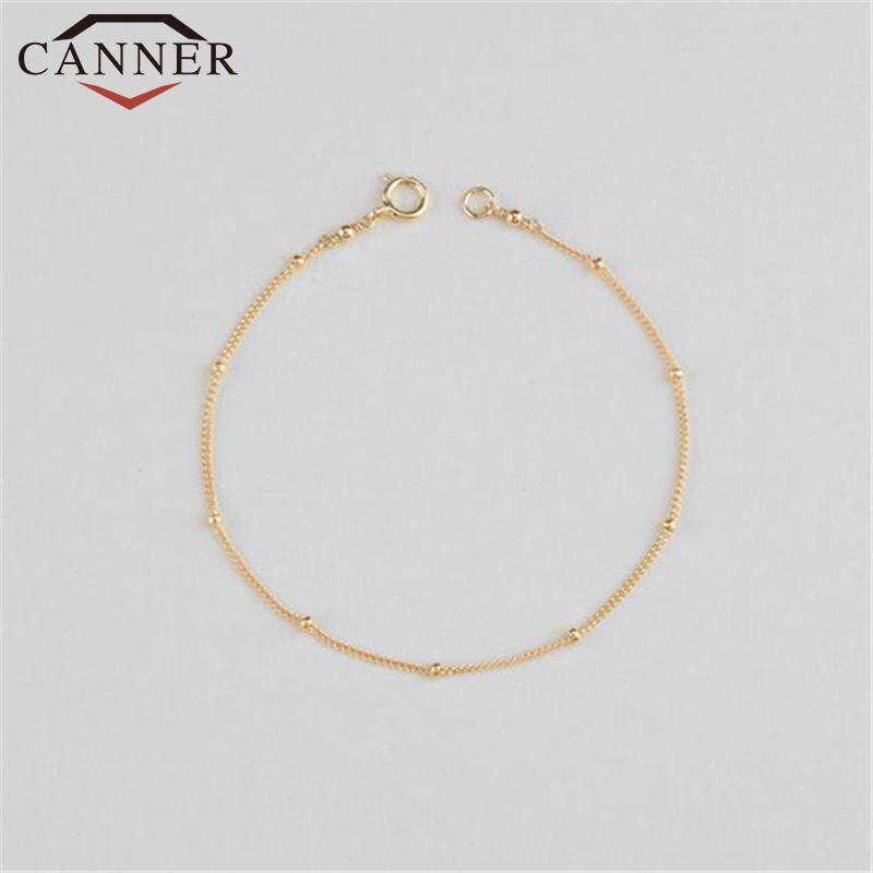 European and American trend INS 925 Sterling Silver Bracelets for Women Small Bead gold rose gold silver Girl's charm Bracelet