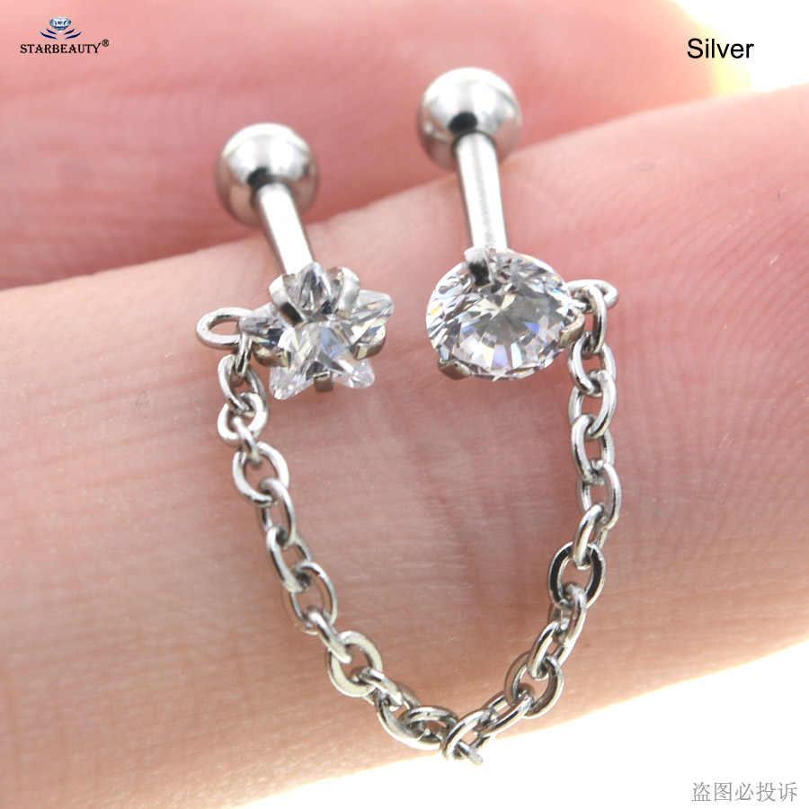 16g 1.2*6mm cor de ouro dupla estrela redonda borla brincos helix piercing tragus oreja nariz anel orelha piercing corpo jóias