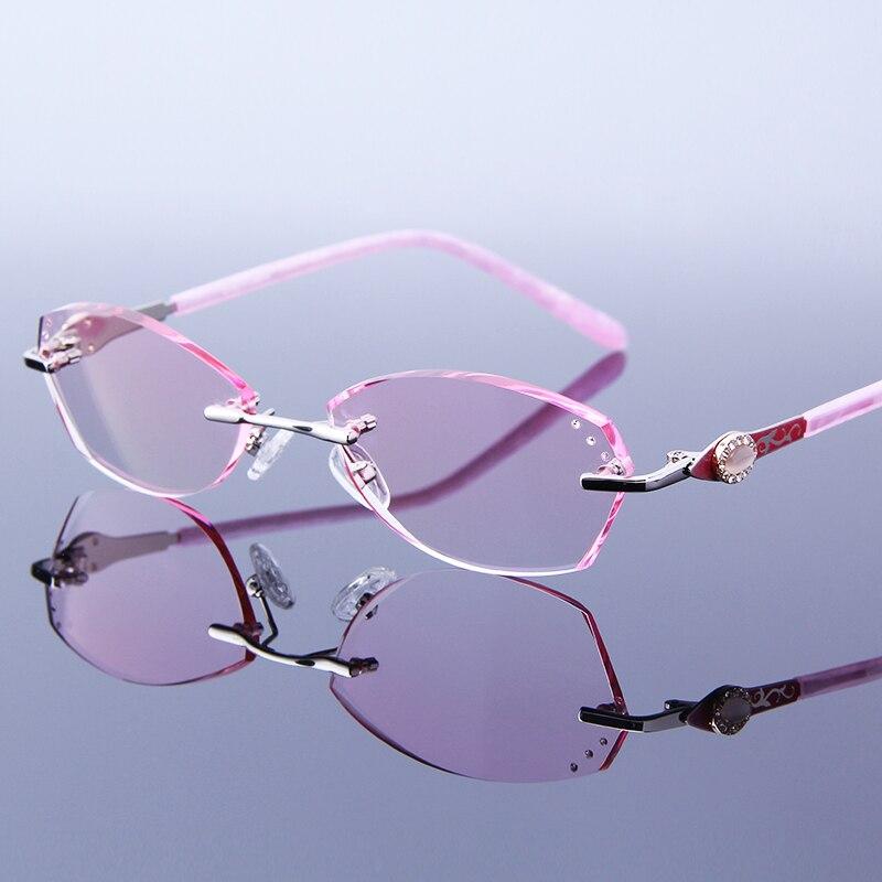 Elegant Women Rimless Reading Glasses Rhinestone Frame Pink Eyeglasses Hyperopia Frameless For Read Optic Presbyopic Eye Glasses Women's Reading Glasses     - title=