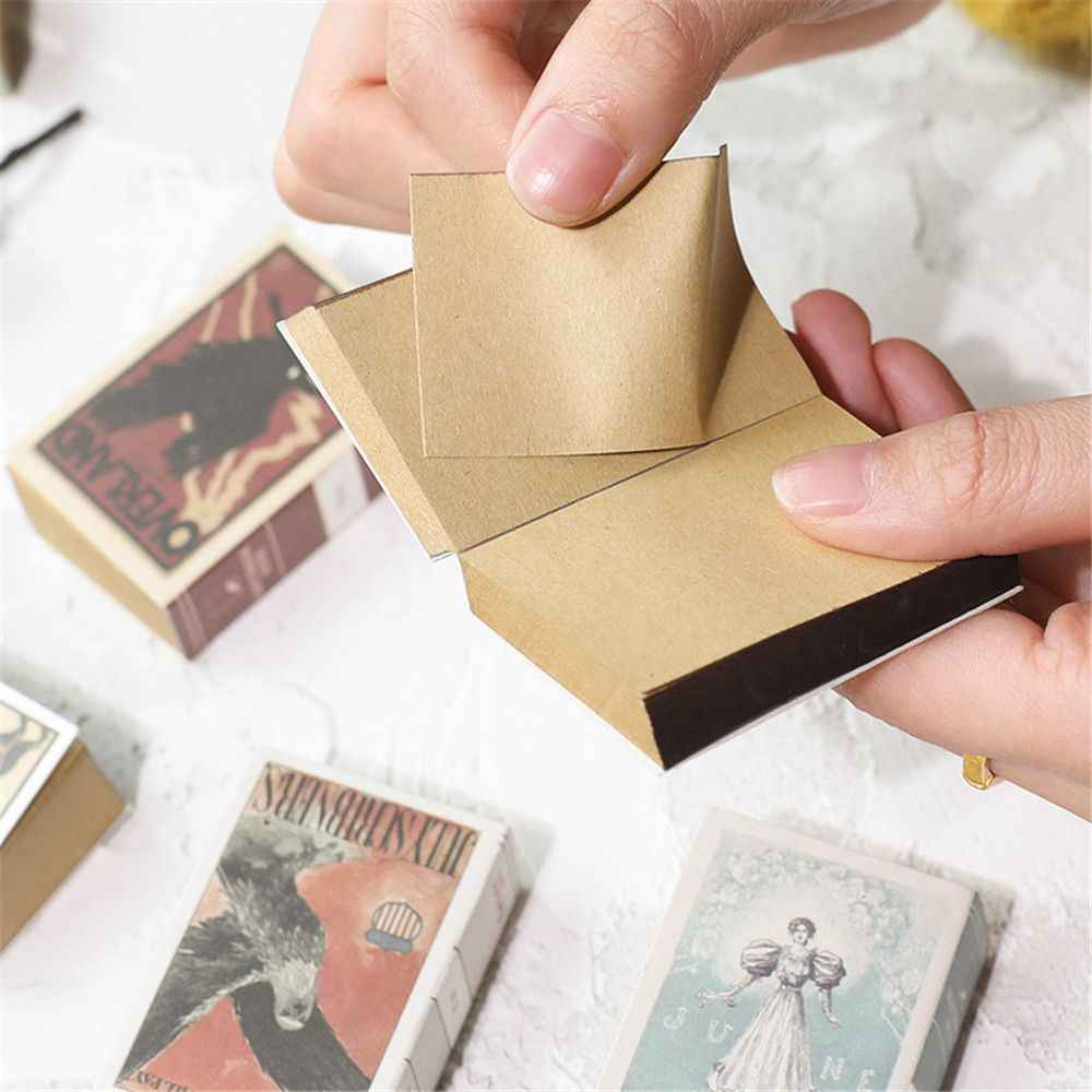 122 Lembar Gaya Retro Mini Memo Pad Baru Matchbox Vintage Notebook Teargas Grenade Pesan Catatan Kawaii Stationery Sekolah