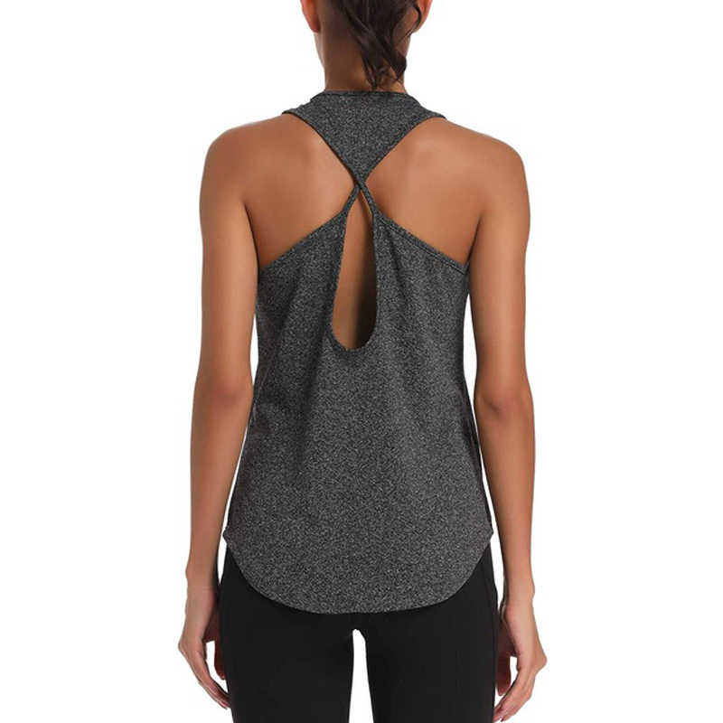 Nouveau Fitness femmes Yoga haut gilet de yoga respirant gymnastique entraînement débardeur Sexy dos nu Sport t-shirt femmes course chemise Sport haut