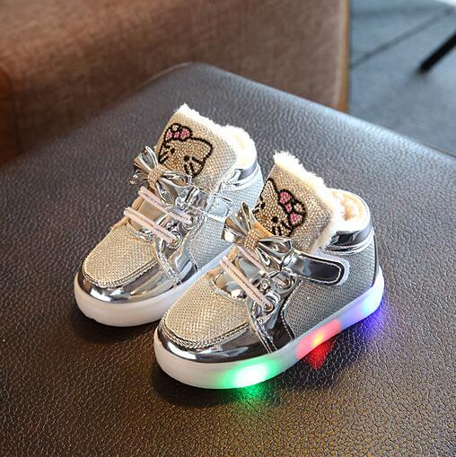 New Winter Kids Led Shoes Casual Sport Running Shoes Children Luminous Boots Boys Girls Kitty Baby Non-slip Warm Boot