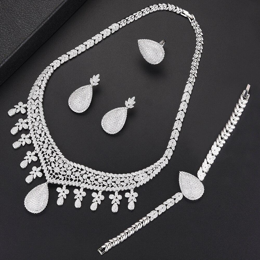 Ensembles de bijoux de mariage de mariée de luxe LARRAURI pendentif goutte d'eau collier boucle d'oreille Bracelet anneau bijoux de costume femme africaine