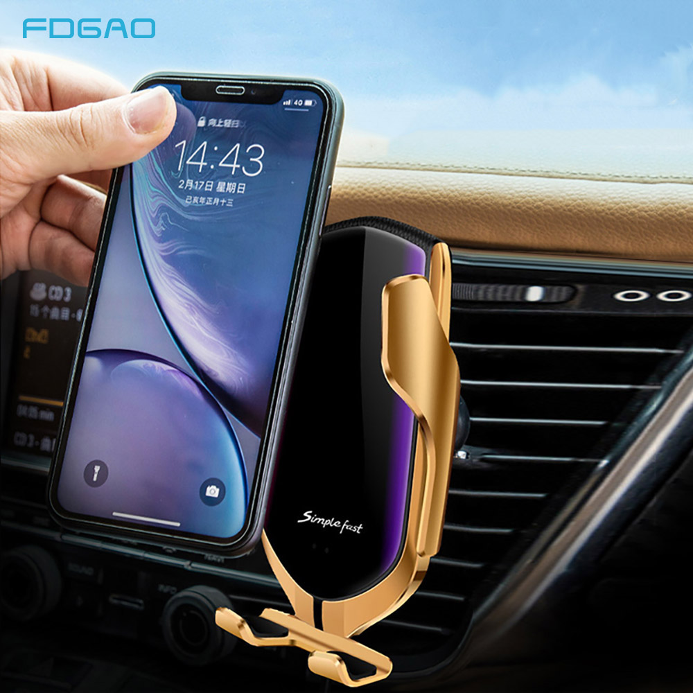 FDGAO Infrared Sensor Automatic Qi 10W Fast Wireless Car Phone Charger For iphone Samsung Car Phone Holder For Xiaomi Huawei in Wireless Chargers from Cellphones Telecommunications
