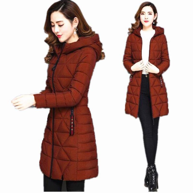 Long winter hooded   down   jacket 2019 Korean version of the slim autumn fashion thin women   coat   warm jacket women parka spring 6XL