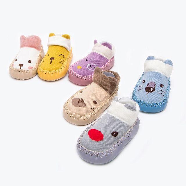 Cartoon Socks Shoes Girls Kids Baby Skin Sole Socks Infant Toddler Shoes Fur Non-slip Soft Bottom Floor Socks Crib Shoes Unisex 3