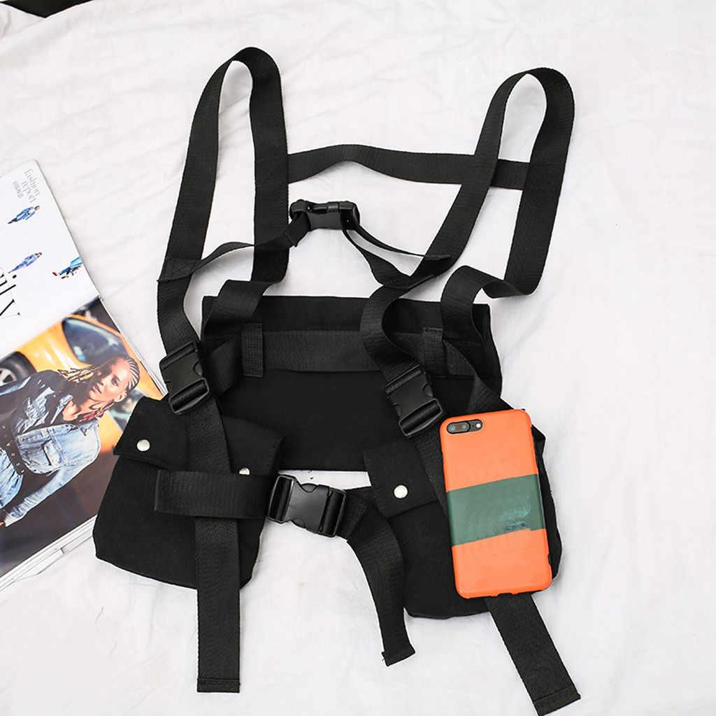 Hot Moda Rig Peito Pacote Saco Da Cintura Preto Multi-Funcional bolso Hip Hop Streetwear Militar Tático Saco Peito
