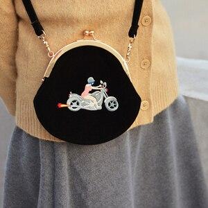 Image 5 - YIZI store women Vintage bag Velvet Embroidery Women Messenger Bags In Semi circle Round Shape Original Designed 2020 new TANTO