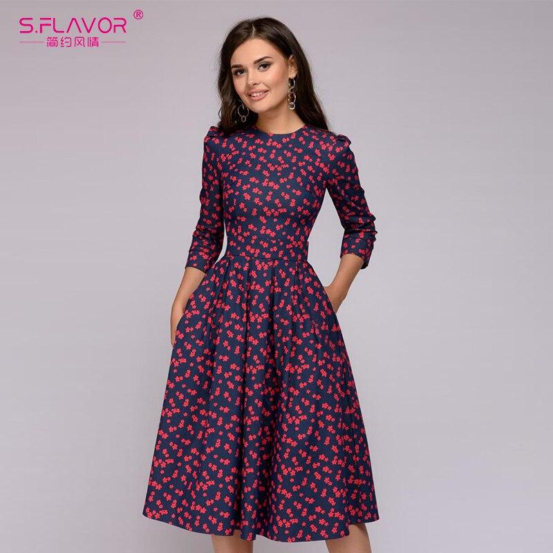 S. Saveur femmes élégant a-ligne robe 2019 Vintage impression parti vestidos trois quarts manches femmes mince automne robe d'hiver