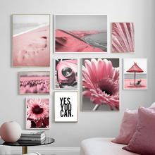 Pink Tulip Sunflower Sea Beach Car Quotes Wall Art Canvas Painting Nordic Posters And Prints Pictures For Living Room Decor