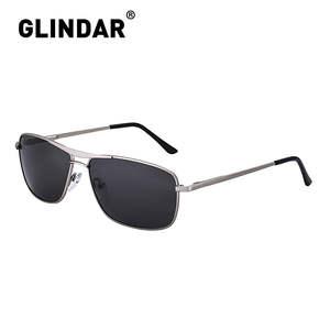 Men Polarized Sunglasses Hinge Driving Metal-Frame Narrow Rectangle Spring