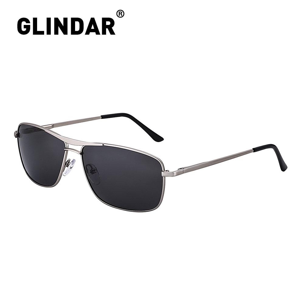 Spring Hinge Men Polarized Sunglasses Narrow Rectangle Metal Frame Driving Sun Glasses