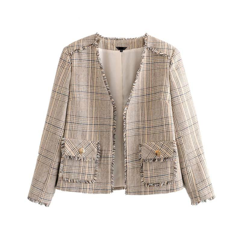 Tweed Jacket for Women Fall Houndstooth Tassel Patchwork Short Jackets Chic Long Sleeve Women Blazer Elegant Pockets Lady Coats