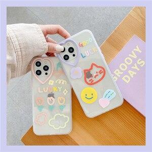 Image 2 - Gato smiley etiqueta flor amor coração lente caso do telefone para o iphone 12 11 pro x xs max xr 7 8 plus se 2020 proteção macia tpu capa