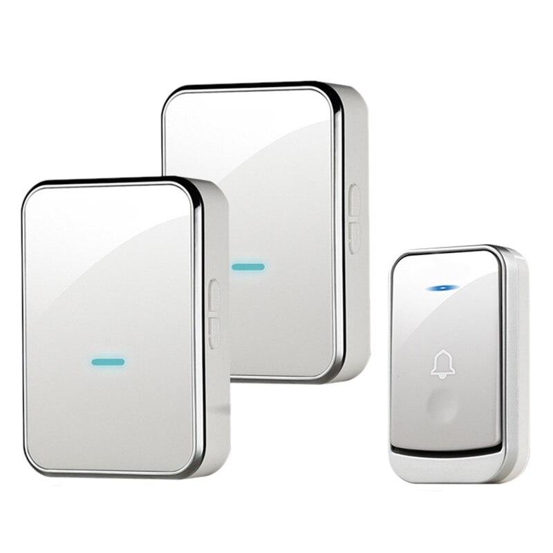 FFYY-Waterproof Doorbell Intelligent Wireless Doorbell 200M Remote Smart Door Bell 45 Chimes 1 Emitter 2 Receiver(Us Plug)