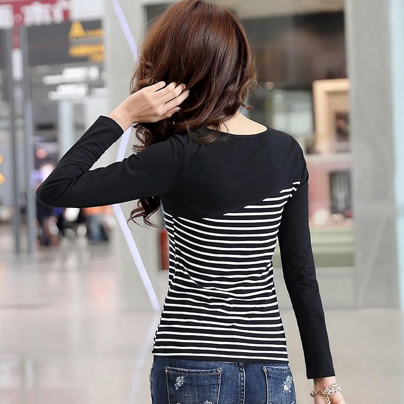 H852d50c9336f4d83a132bb0e9e7c3cb2D - T Shirt Women Top Shirts Long sleeve Casual Tshirt Striped Female