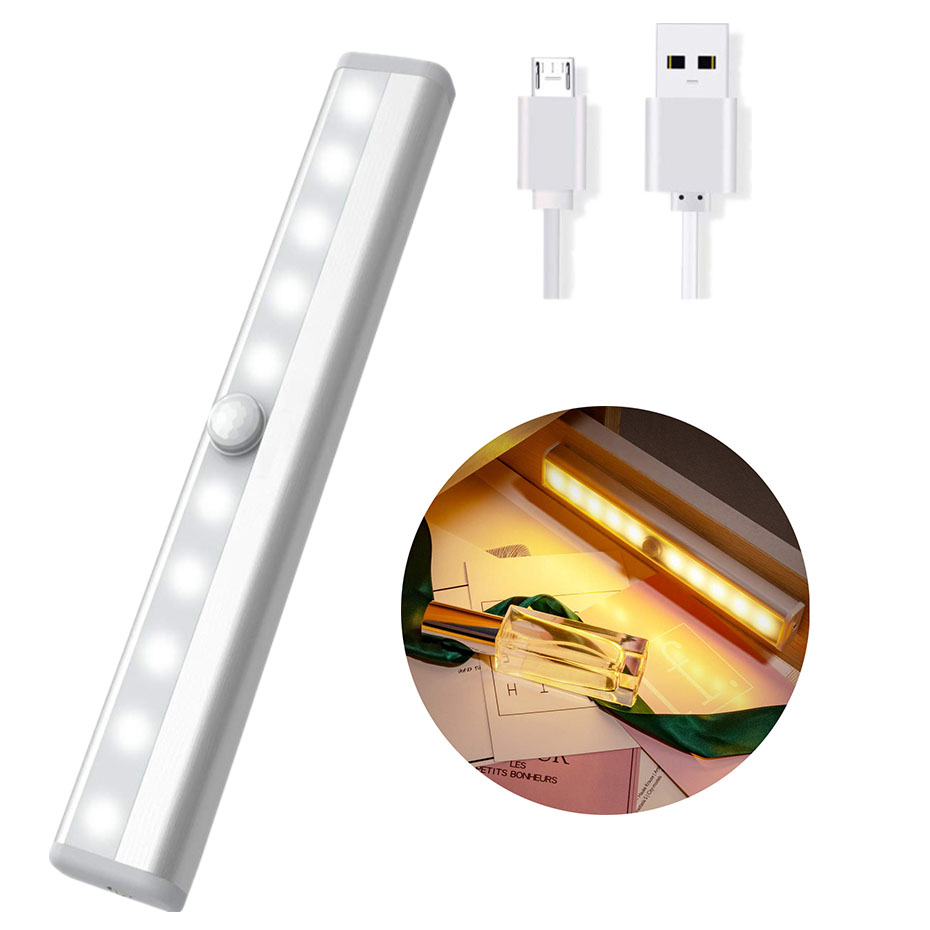 Motion Sensor Night Light 10 LED Closet Lights USB Rechargeable Or Battery Power Wireless IR Infrared Motion Detector Night Lamp