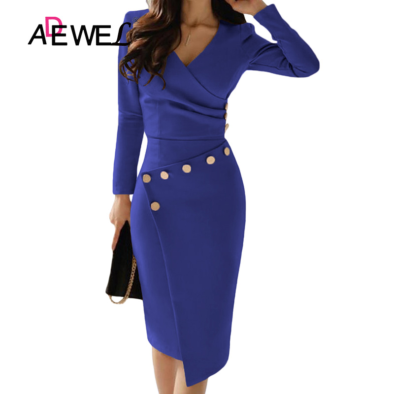 ADEWEL Button Detail White Ruched Bodycon Office Work Dress Women Long Sleeve V-Neck Party Midi Gown Dress 14