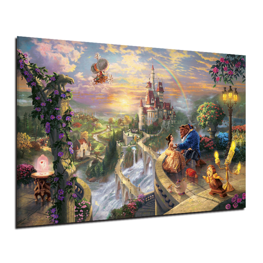 Beauty and the Beast Falling in Love Wall Art Canvas Painting Nordic Posters And Prints Salon Wall Picture For Living Room Decor