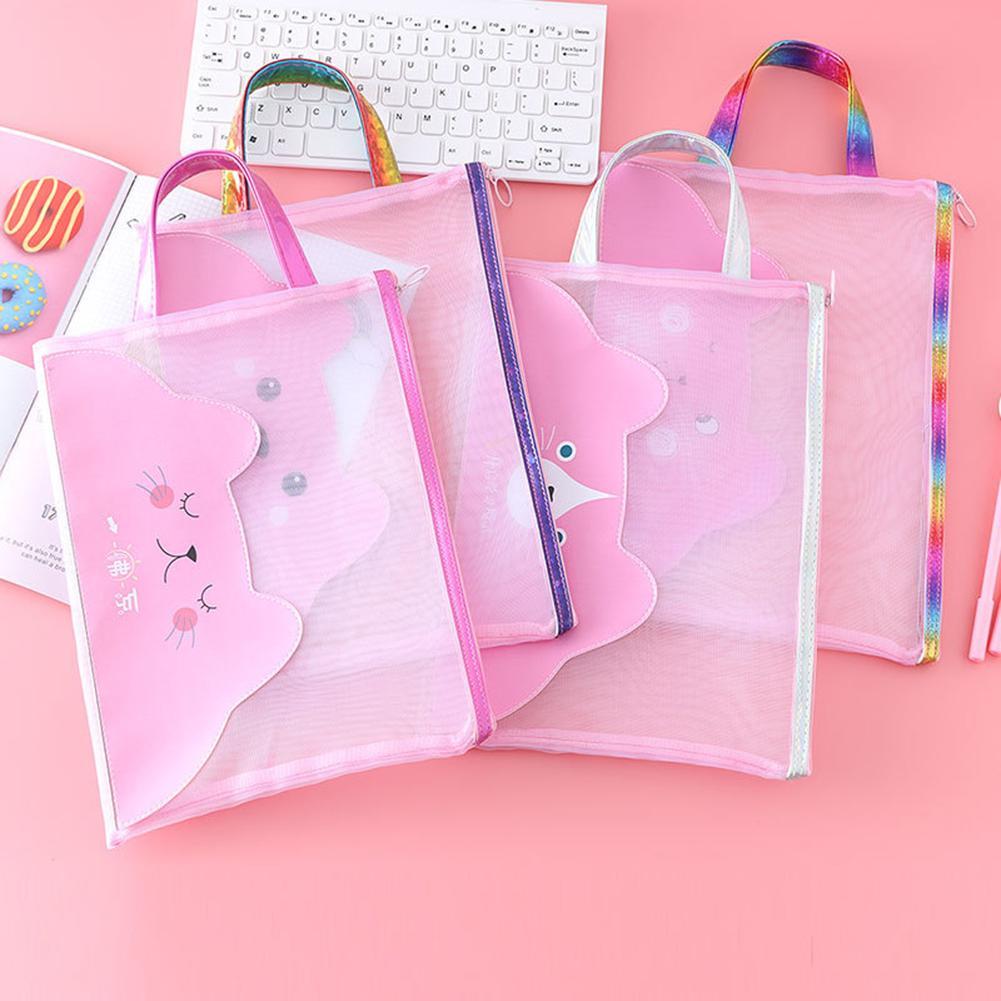 Bear Mesh File Document Holder School Office Bag Tote Organizer Handbag