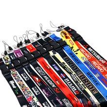 Jdm estilo corrida cordão chave móvel id cartão pendurado cinta montagem pescoço colhedores para chaves