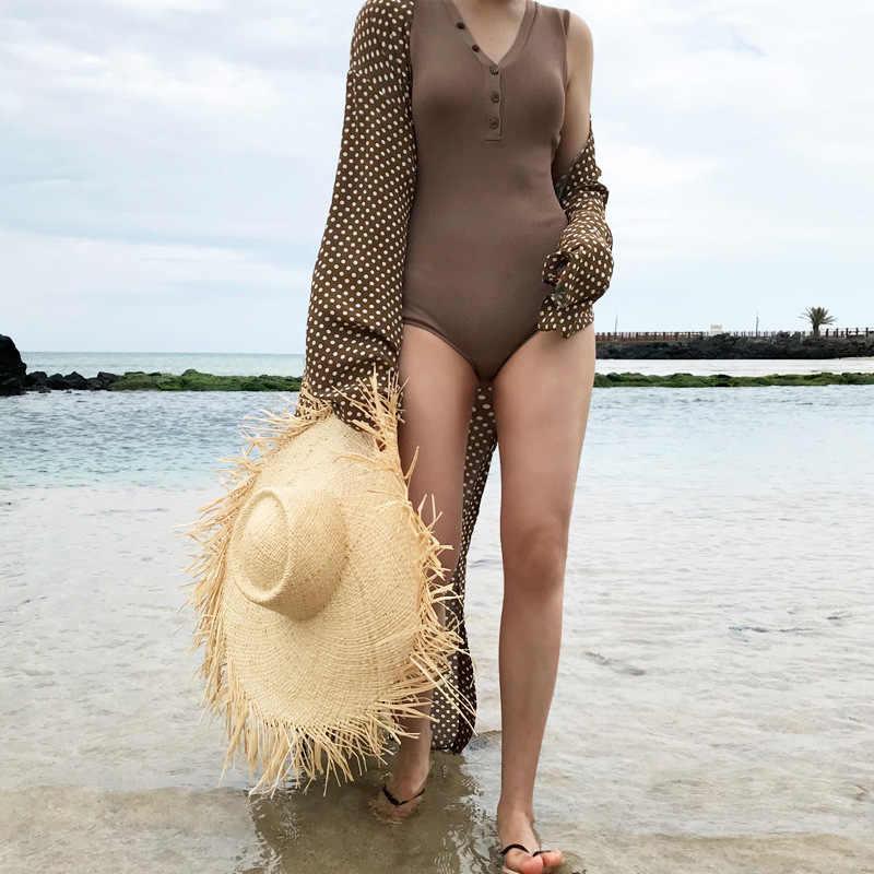 Sombrero de visera de ala de tamaño grande de moda para mujeres floppy rafia Panamá playa sombreros señoras verano vacaciones sol sombrero al por mayor