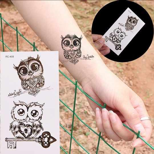 1 Sheets Body Art waterproof temporary tattoos (owl) paper women simple 3d CAT design small Silver tattoo sticker For Children