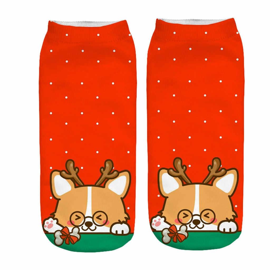 SAGACE noel çorap hediye kadın erkek kış moda 3D baskı karikatürler çorap bayan pamuklu çorap hediye çantası yumuşak parti çorap kızlar