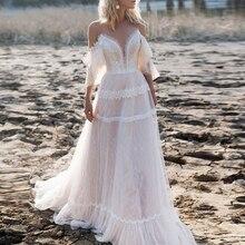 Перекрещивающиеся бретельки с рукавами-бабочками, кружевные свадебные платья цвета шампанского, богемное модное свадебное платье