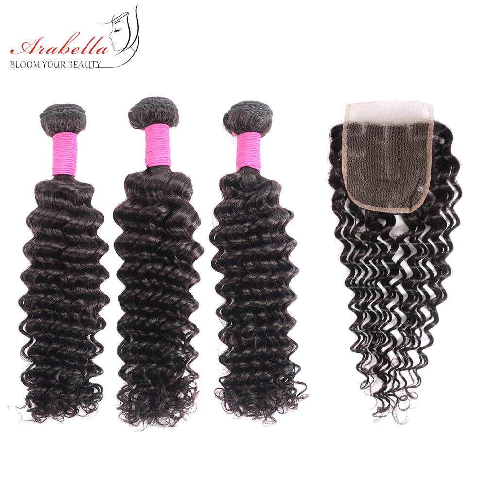 Deep Wave Bundles With Closure Arabella Natural Color  Hair s  Bundles With 4*4 Lace Closure 4