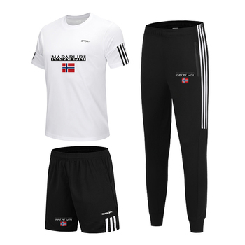 3 Pieces/Set Sports T-shirt Mens Suit Running Shorts +Sports Trousers +Jogging Pants Sportswear Football Gym New