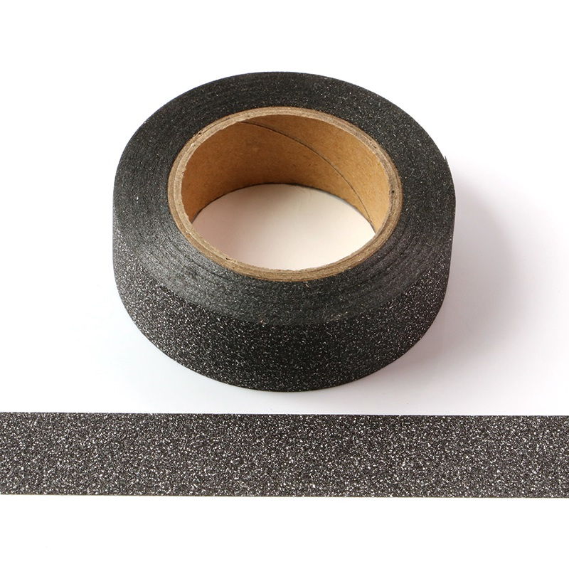 10PCS/lot Decorative Solid Black Glitter Washi Tapes For Planner Scrapbooking Bullet Journal Adhesive Masking Tapes Wholesale