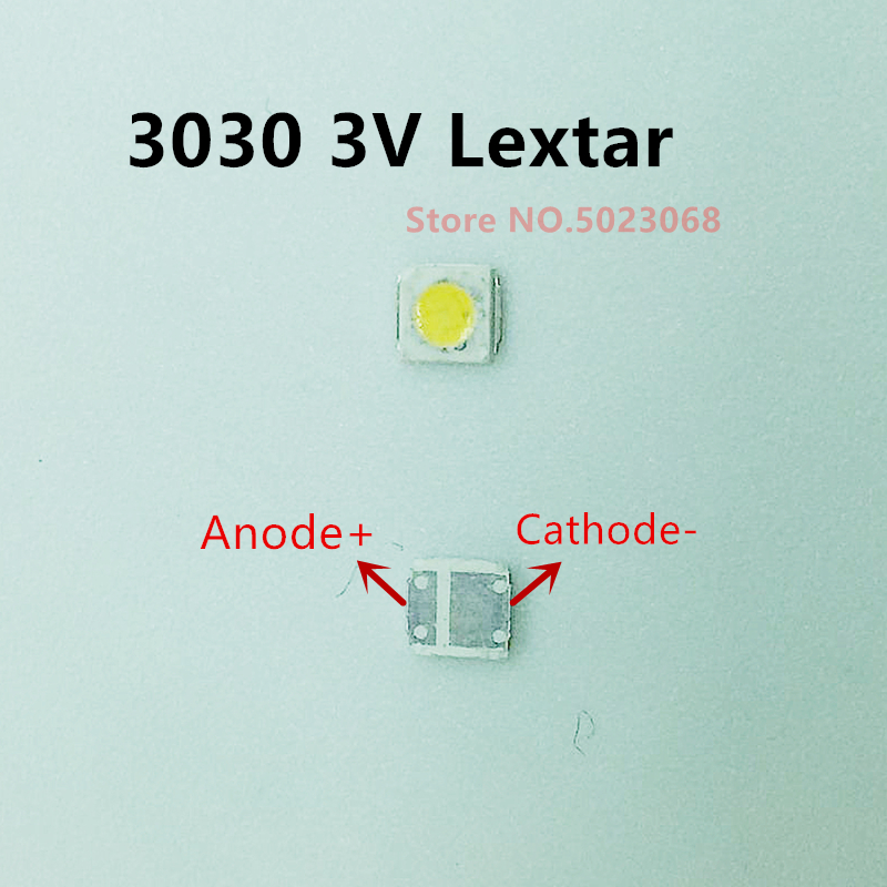<font><b>SMD</b></font> 100pcs Original For Lextar 3030 3v <font><b>1W</b></font> <font><b>SMD</b></font> <font><b>LED</b></font> <font><b>Diode</b></font> For TV Backligh Repair Cool White Maintenance Beads image