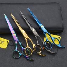 Professional Japan 440c 6 inch cut hair scissors set cutting shears thinning barber scissor hairdressing scissors