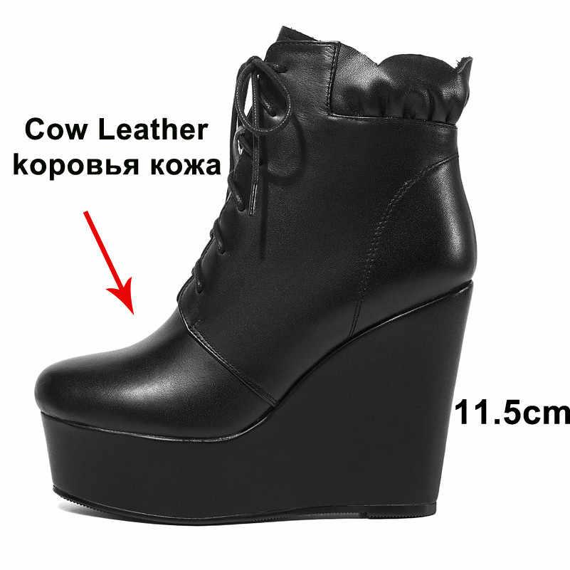 ANNYMOLI kış yarım çizmeler kadınlar doğal hakiki deri platformu kama topuk kısa çizmeler dantel Up süper yüksek topuk ayakkabı bayan 39