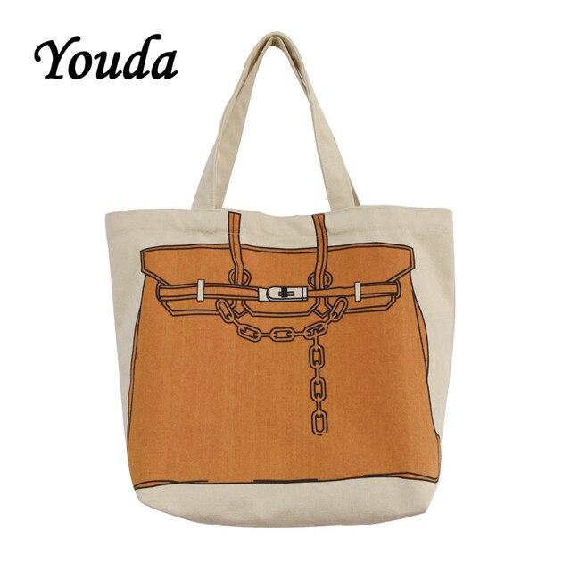 Youda design original impressão de moda grande capacidade bolsa estilo clássico senhoras sacola de compras casual simples feminino