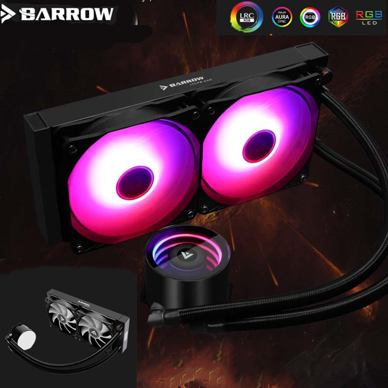 Barrow ARGB 5V  240mm CPU Cooler Fan Radiator Pump + CPU Block + Fan Cooling Building LTCPR-240