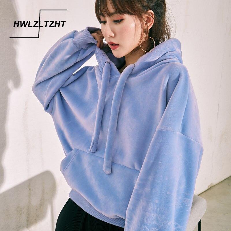 Autumn Velvet Hoodies Pullover Women's Sweatshirt Winter Warm Womens Fleece Sweatshirt Casual Sportswear Plus Size Streetwear