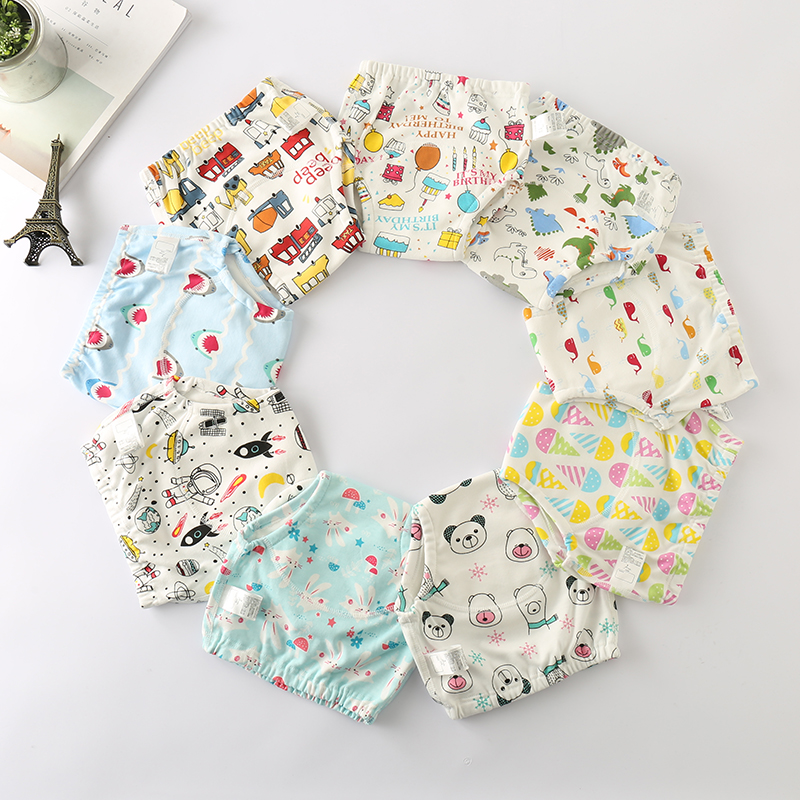 Washable Cartoon Cotton Baby Potty Training Pants Reusable Toilet Trainer Panty Underwear Bebe Cloth Diaper Wholesale 8pcs